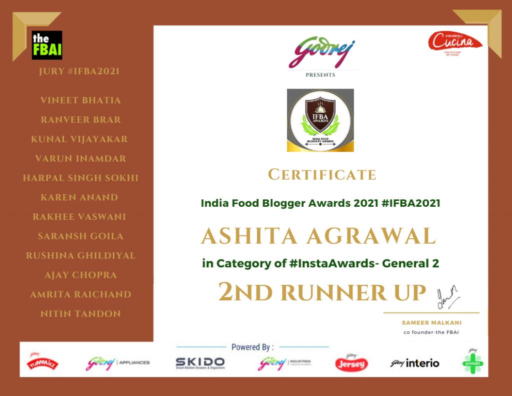 Instagram Awards )runner up) - Iindian Food Bloggers Award 2021 - FBAI